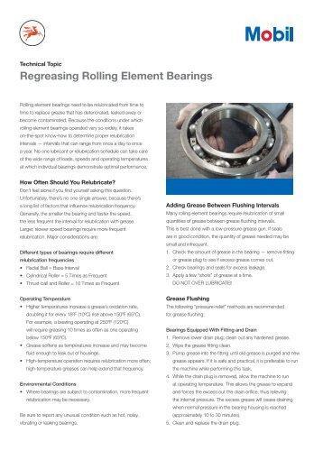 Regreasing Rolling Element Bearings - Mobil™ Industrial Lubricants