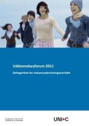 Deltagerliste for voksenundervisningsområdet - Uddannelsesforum 2011