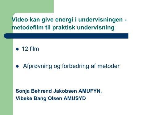 metodefilm til praktisk undervisning - Uddannelsesforum 2011 - Emu