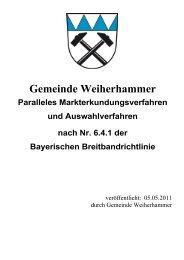 Markterkundungs- und Auswahlverfahren Gemeinde Weiherhammer