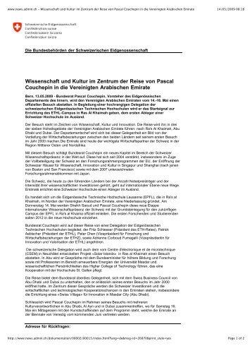 www.news.admin.ch - Wissenschaft und Kultur im Zentrum der ...