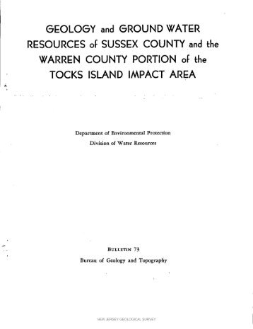 Bulletin 73. Geology and ground water resources of Sussex County ...