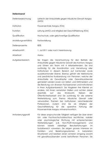 Stelleninserat Stellenbezeichnung Leiter/in der Anlaufstelle gegen ...