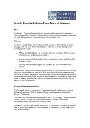 Coventry Financial Inclusion Forum Terms of Reference