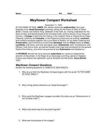 Thanksgiving Worksheet | Mayflower Compact