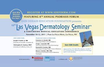 register at www.sdefderm.com featuring 8th annual psoriasis forum