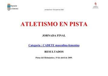 ATLETISMO EN PISTA - Club Caja Rural Atlético de Salamanca
