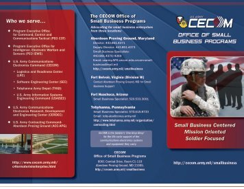 CECOM Office of Small Business Programs - U.S. Army