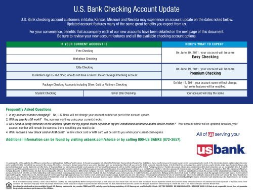 U S  Bank Checking Account Update