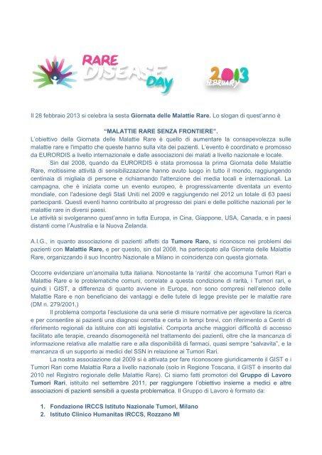 Giornata delle Malattie Rare - Associazione Italiana GIST