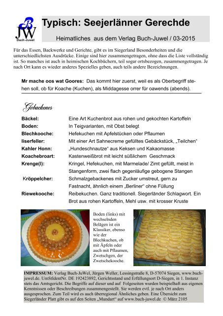 Siegerland - Typisch: Seejerlänner Gerechde