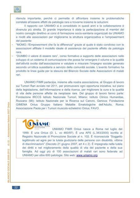 IL BILANCIO SOCIALE 2006 - Associazione Italiana GIST