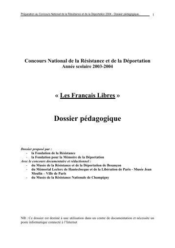 Les Français Libres » Dossier pédagogique - Fondation pour la ...