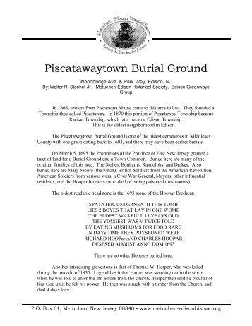 Piscatawaytown Burial Ground - Metuchen-Edison Historical Society