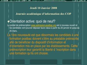 Jeudi 10 Janvier 2008 Journée académique d'information des COP