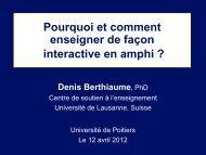 Pourquoi l'interactivité en enseignement - Université de Poitiers