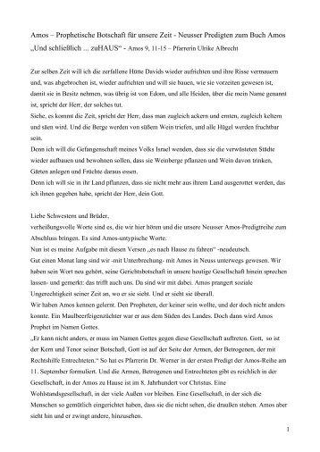 Neusser Predigten zum Buch Amos - Pfarrerin Ulrike Albrecht