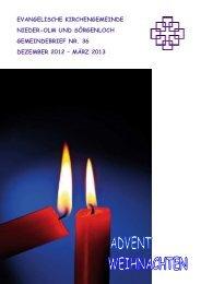 Gemeindebrief Nr. 36 Dezember 2012 bis März 2013