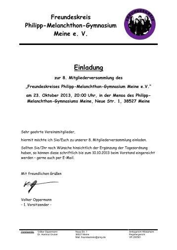 Einladung zur 8.... - Philipp Melanchthon Gymnasium Meine