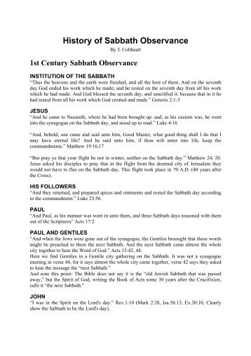 History of Sabbath Observance - Bible Sabbath
