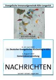 Ausgabe 2 - Evangelischen Immanuel-Gemeinde in Köln-Longerich