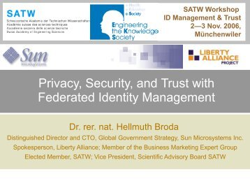 Privacy, Security, and Trust with Federated Identity ... - Hellmuth Broda