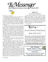 March, 2013 - Zion Evangelical Lutheran Church