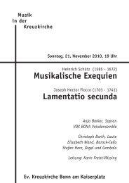 Musikalische Exequien Lamentatio secunda - Kreuzkirche Bonn