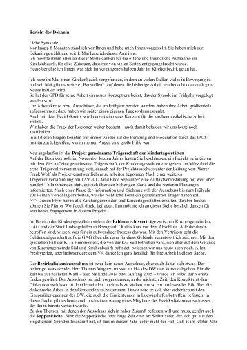 Bericht der Dekanin - Protestantischer Kirchenbezirk Ludwigshafen