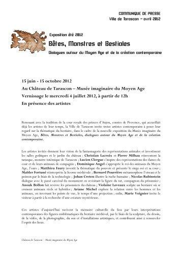 Télécharger le communiqué de presse - Château de Tarascon