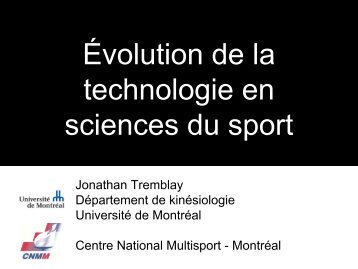Évolution de la technologie en sciences du sport - Université de ...