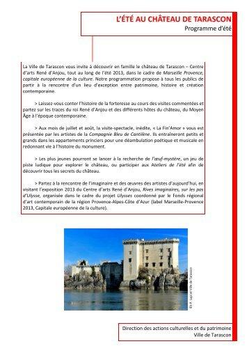 Le programme des animations d'été - Château de Tarascon