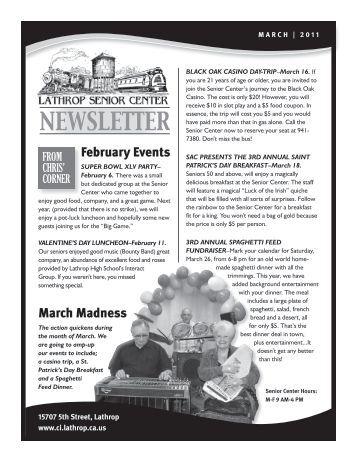 Senior Center Newsletter - March 2011 - City of Lathrop