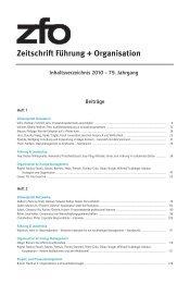 2010 – 79. Jahrgang - zfo - Zeitschrift Führung + Organisation