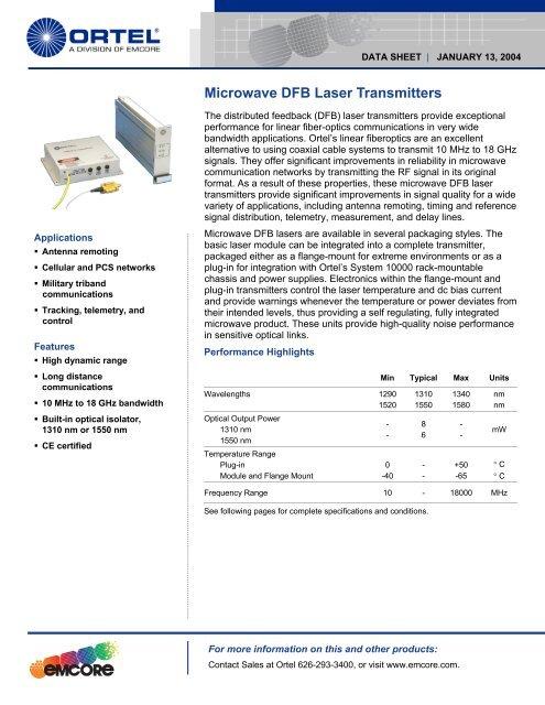 Microwave DFB Laser Transmitters Datasheet - EQ Photonics