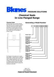 Chemical Seals In-Line Flanged Range - Blanes Pressure Solutions