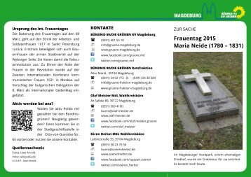 Faltblatt Frauentag 2015 Maria Neide (1780 – 1831)
