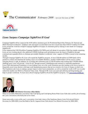 Lions Surpass Campaign SightFirst II Goal - Lions District 5M8