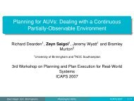 ICAPS 2007 Workshop on Planning and Plan Execution - Zeyn Saigol