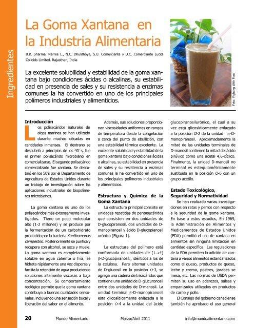 La Goma Xantana En La Industria Alimentaria Alimentariaonline
