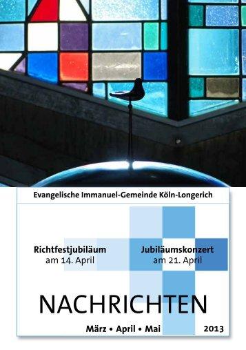 Ausgabe 1 - Evangelischen Immanuel-Gemeinde in Köln-Longerich
