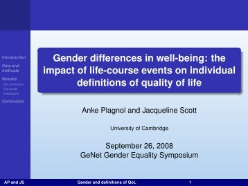 Gender differences in well-being: the impact of life-course ... - GeNet