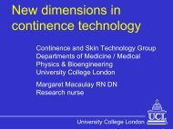 New dimensions in continence technology