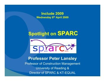 Spotlight on SPARC p g - SPARC - Strategic Promotion of Ageing ...