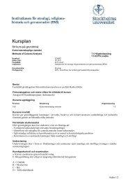 kursplan och litteraturlista - Institutionen för etnologi ...
