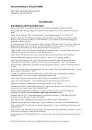 Genusvetenskap II - litteraturlista ht12 - Institutionen för etnologi ...
