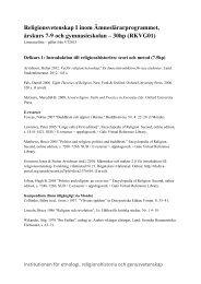 Religionsvetenskap I inom Ämneslärarprogrammet, årskurs 7-9 och ...