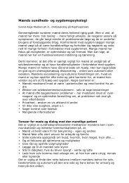 Mænds sundhedspsykologi - Selskab for Mænds Sundhed