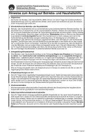 Hinweise zum Antrag auf Betriebs- und Haushaltshilfe