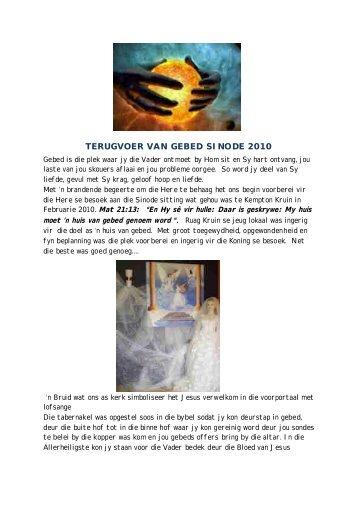 TERUGVOER VAN GEBED SINODE 2010 - Kerkweb.org